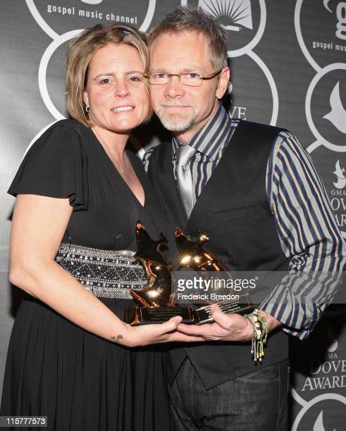 Mary Beth Chapman and Steven Curtis Chapman pose in the press room at the 40th Annual GMA Dove Awards held at the Grand Ole Opry House on April 23,...