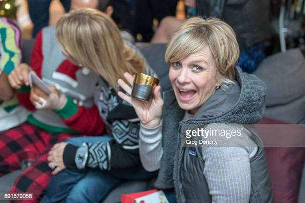 Mary Beth Evans displays her Secret Santa Gifts at The Bay Ugly Sweater And Secret Santa Christmas Party at Private Residence on December 12 2017 in...