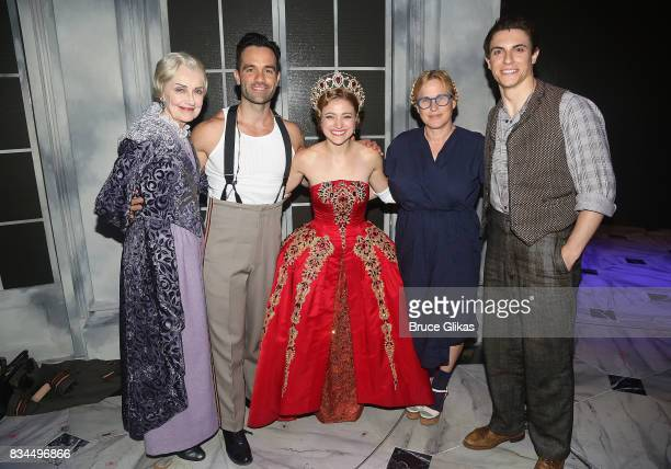 Mary Beth Peil as 'Empress Maria' Ramin Karimloo as Gleb Christy Altomare as 'Anya' Patricia Arquette and Derek Klena as 'Dmitry' pose backstage at...