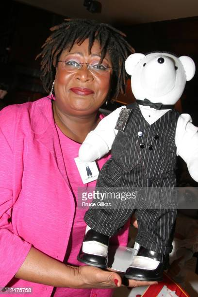 Mary Bond Davis of Hairspray with the Gregory Hines tribute bear from Jelly's Last Jam