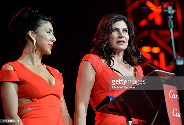Mary Bono Mack and Chianna Maria Bono speak onstage during the 25th annual Palm Springs International Film Festival awards gala at Palm Springs...