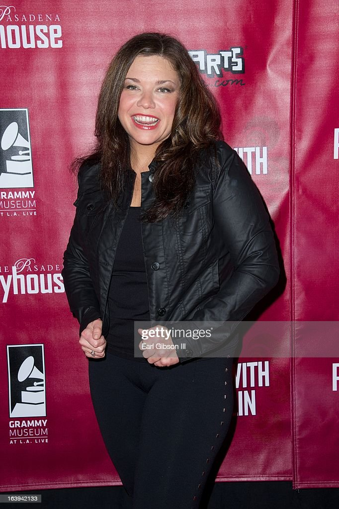 Mary Bridget Davies poses for a photo after performing as Janis Joplin on the opening night performance of 'One Night With Janis Joplin' at Pasadena Playhouse on March 17, 2013 in Pasadena, California.