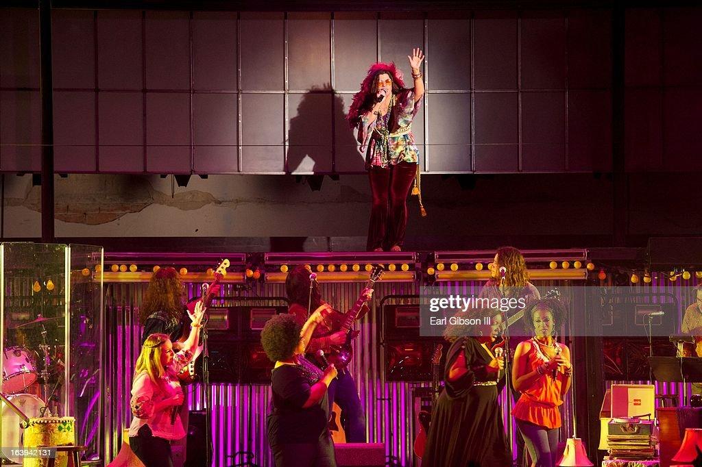 Mary Bridgett Davies performs as Janis Joplin on Opening Night Performance of 'One Night With Janis Joplin'at Pasadena Playhouse on March 17, 2013 in Pasadena, California.