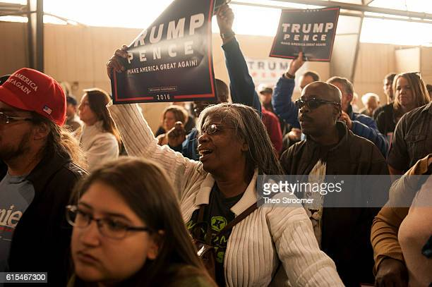 Mary Burney of Colorado Springs cheers during a rally for Republican presidential candidate Donald Trump on October 18 2016 in Colorado Springs...