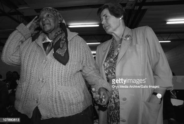 Mary Burton supports a family member of the Gugulethu seven killing Cape Town 1998