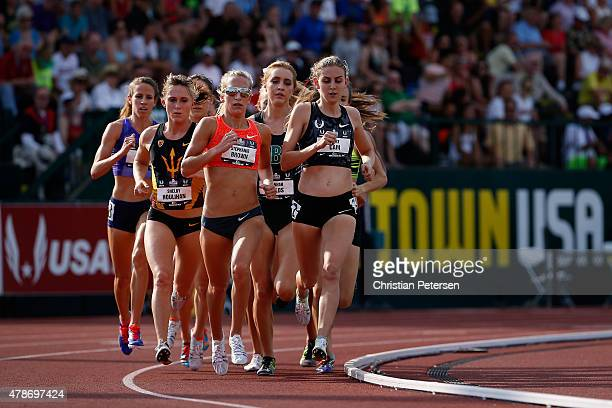Mary Cain and Stephanie Brown lead the pack as they compete in the Women's 1500 Meter Run during day two of the 2015 USA Outdoor Track Field...