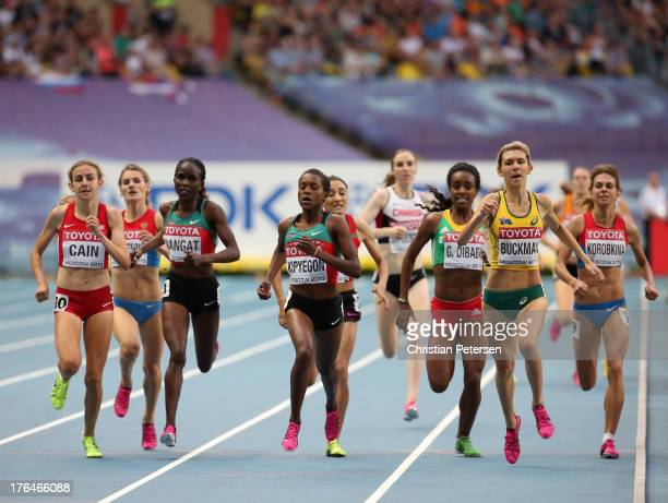 Mary Cain of the United States Faith Chepngetich Kipyegon of Kenya and Zoe Buckman of Australia compete in the Women's 1500 metres semi final uring...