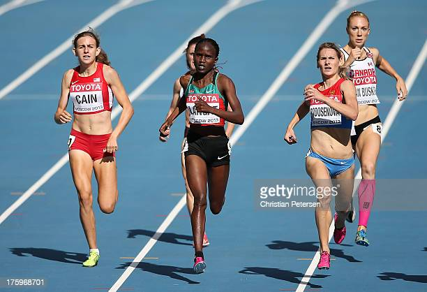 Mary Cain of the United States Nancy Jebet Langat of Kenya and Svetlana Podosenova of Russia compete in the Women's 1500 metres heats during Day Two...