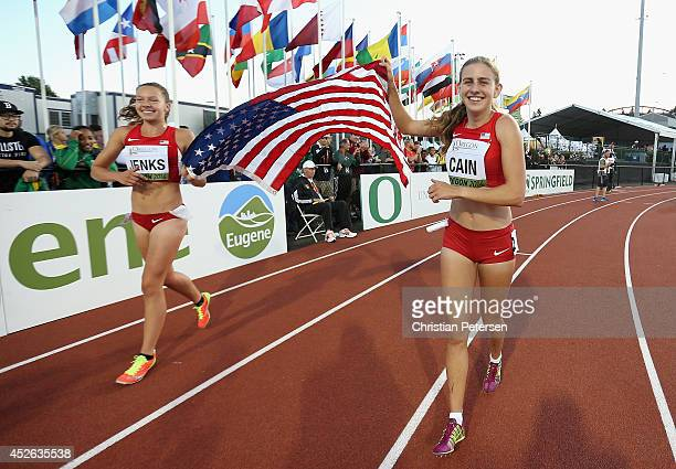 Mary Cain of the US celebrates after winning the women's 3000m final alongside Stephanie Jenks of the US during day three of the IAAF World Junior...