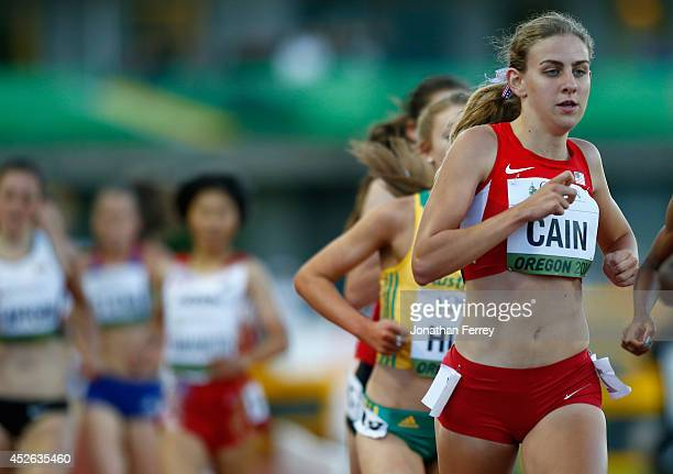 Mary Cain of the US runs during the 3000m final during day three of the IAAF World Junior Championships at Hayward Field on July 24 2014 in Eugene...