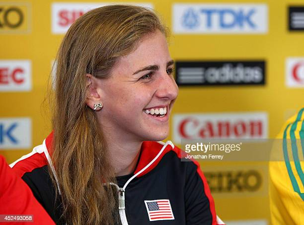 Mary Cain of USA speaks during a IAAF/LOC Press Conference on July 21 2014 at the Jaqua Academic Center in Eugene Oregon
