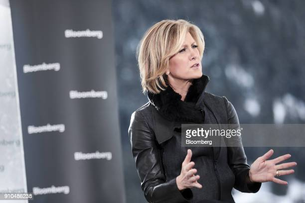 Mary Callahan Erdoes chief executive officer of asset management at JPMorgan Chase Co gestures while speaking during a Bloomberg Television interview...