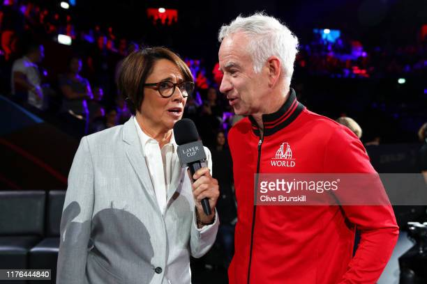 Mary Carillo former tennis player interviews John McEnroe Captain of Team World during Day Three of the Laver Cup 2019 at Palexpo on September 22...