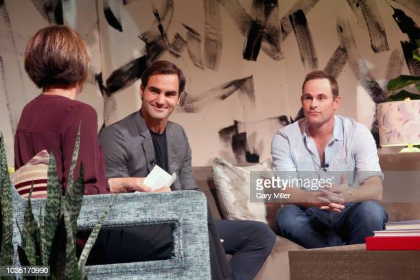 Mary Carillo Roger Federer and Andy Roddick speak during the Roger Federer Comes To Austin event benefitting the Andy Roddick Foundation at the...
