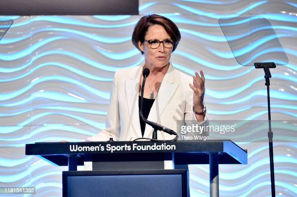 Mary Carillo speaks on stage at The Women in Sports Foundation 40th Annual Salute to Women in Sports Awards Gala celebrating the most accomplished...
