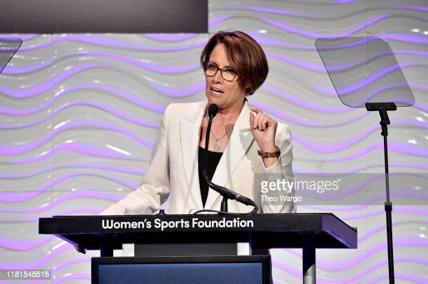 Mary Carillo speaks onstage during The Women in Sports Foundation 40th Annual Salute to Women in Sports Awards Gala celebrating the most accomplished...