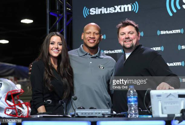 Mary Carlisle Callahan Ryan Shazier and Storme Warren attend SiriusXM at Super Bowl LIII Radio Row on February 01 2019 in Atlanta Georgia