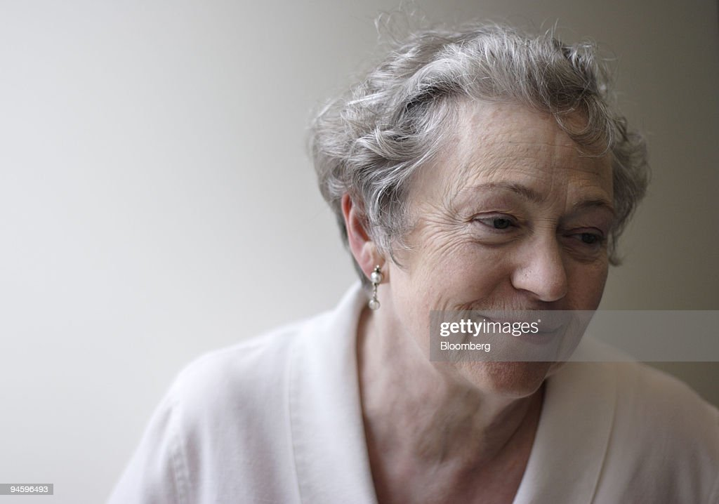 Mary Catherine Bateson pauses in the hallway of the Bloomber : News Photo