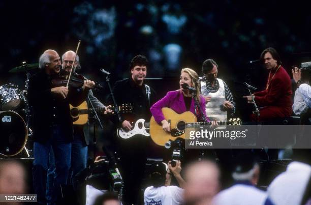 Mary Chapin Carpenter and Beausoleil performs during the pregame show of Super Bowl XXXI on January 26, 1997 at the Superdome in New Orleans,...