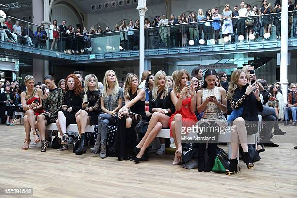Mary Charteris Abbey Clancy Laura Whitmore Millie Mackintosh and Leah Weller attend the Julien Macdonald show during London Fashion Week Spring...