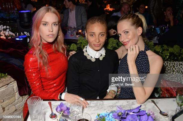 Mary Charteris Adwoa Aboah and Poppy Delevingne attend the Annabel's Art Auction fundraiser in aid of Teenage Cancer Trust Teen Cancer America at...