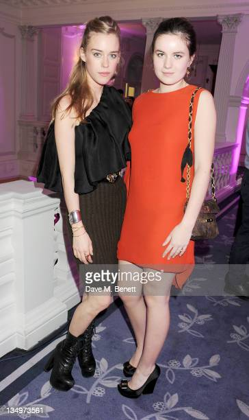 Mary Charteris and Amba Jackson attend Claridge's unveiling of the Alber Elbaz For Lanvin Christmas Tree at Claridge's Hotel on December 5 2011 in...