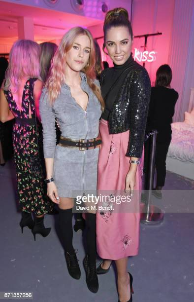 Mary Charteris and Amber Le Bon attend a party hosted by Gigi Hadid to launch her new limitededition Maybelline collection on November 7 2017 in...