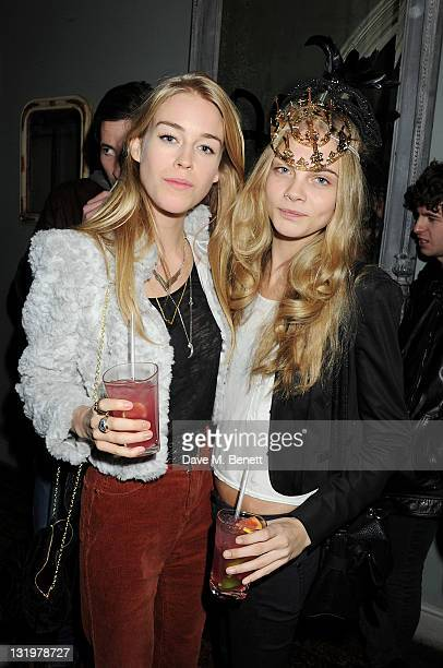Mary Charteris and Cara Delevingne attend the Alice Olivia Black Tie Carnival hosted by designer Stacey Bendet at Paradise by Way of Kensal Green on...