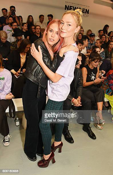 Mary Charteris and Clara Paget attend the Ashley Williams runway show during London Fashion Week Spring/Summer collections 2017 on September 16 2016...