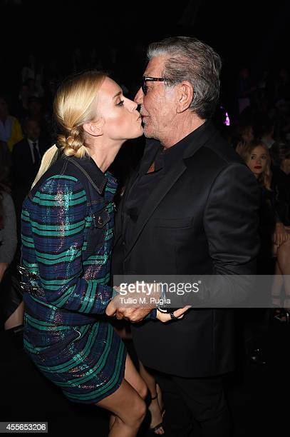 Mary Charteris and Roberto Cavalli attend the Just Cavalli show during the Milan Fashion Week Womenswear Spring/Summer 2015 on September 18 2014 in...