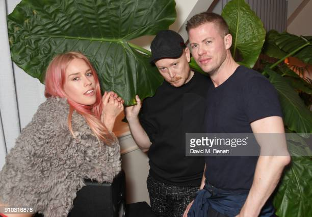 Mary Charteris Andrew Davis and Michael Hennegan attend the launch of Teresa Tarmey's new 'at home facial system' at Mortimer House sponsored by...