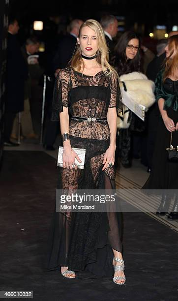 Mary Charteris attends a private view for the 'Alexander McQueen Savage Beauty' exhibition at Victoria Albert Museum on March 12 2015 in London...