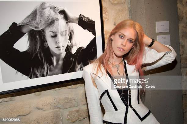 Mary Charteris attends the 'Don't Take it Personally' by Jade Jagger JeanBaptiste Pauchard Exhibition Party on July 6 2017 in Paris France
