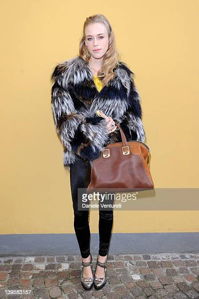 Mary Charteris attends the Fendi Autumn/Winter 2012/2013 fashion show as part of Milan Womenswear Fashion Week on February 23 2012 in Milan Italy