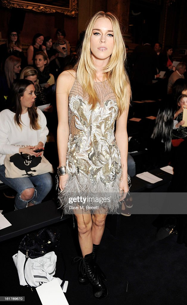 Mary Charteris attends the Julien Macdonald show during London Fashion Week Fall/Winter 2013/14 at Goldsmiths' Hall on February 16, 2013 in London, England.