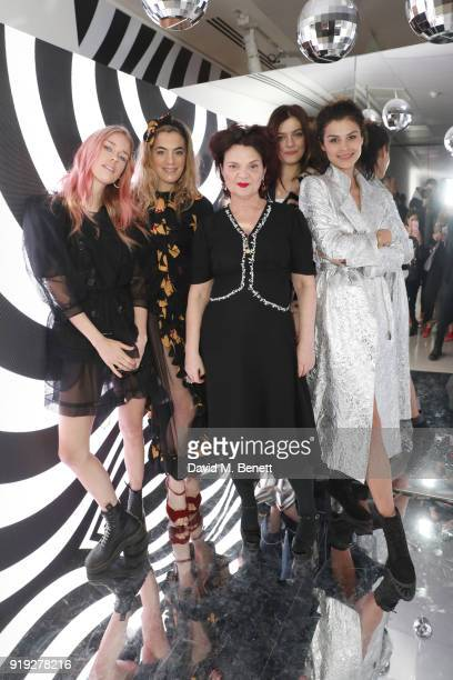 Mary Charteris Chelsea Leyland Lulu Guinness Amber Anderson and Katie Keight attend the Lulu Guinness AW18 London Fashion Week presentation on...