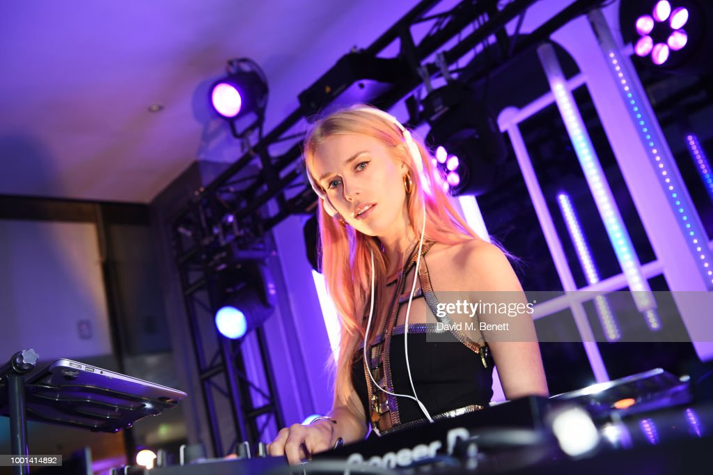 Mary Charteris DJs at the Emporio Armani Fragrance 'Stronger With You' party at Roast on July 18, 2018 in London, England.