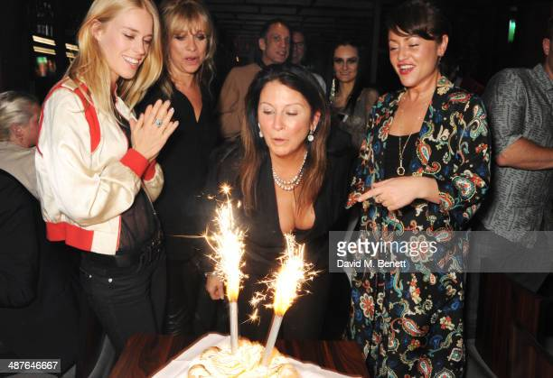 Mary Charteris Jo Wood Fran Cutler and Jaime Winstone attend Fran Cutler's birthday dinner at Bo Lang on May 1 2014 in London England
