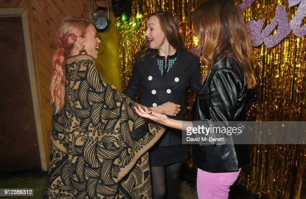 Mary Charteris Lou Hayter and Sara Macdonald attend the ALEXACHUNG Fantastic collection party on January 30 2018 in London England
