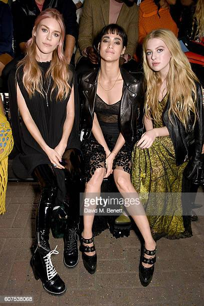 Mary Charteris Sofia Boutella and Anais Gallagher attend the Mulberry Spring/Summer 2017 Show at The Printworks on September 18 2016 in London England