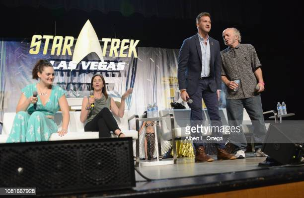 Mary Chieffo Jayne Brook Kenneth Mitchell and Clint Howard attend Day 3 of Creation Entertainment's 2018 Star Trek Convention Las Vegas at the Rio...