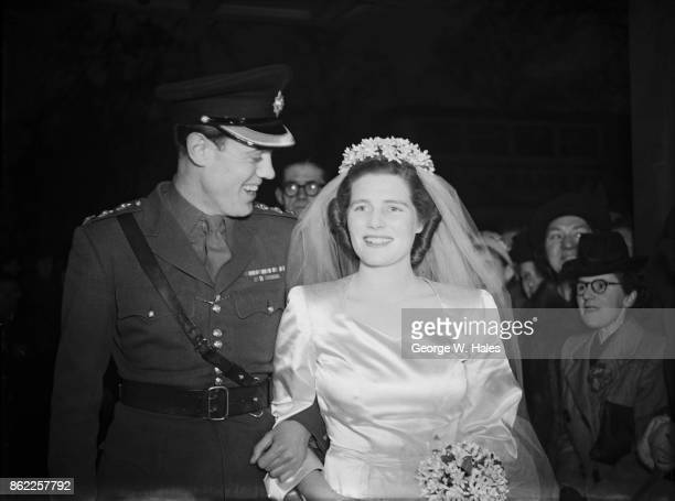 Mary Churchill daughter of Winston Churchill arrives at the Dorchester Hotel in London with Captain Christopher Soames of the Coldstream Guards after...
