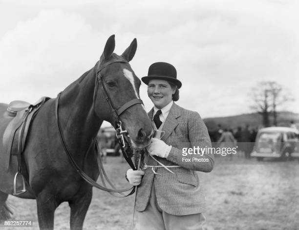 Mary Churchill daughter of Winston Churchill with her horse Patsy after winning an event at the Scamperdale Pony Show Edenbridge UK 16th April 1940...