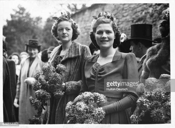 Mary Churchill the daughter of the Wartime leader and Conservative Prime Minister Sir Winston is a bridesmaid at a wedding