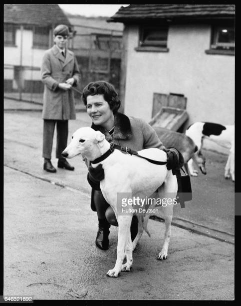 Mary Churchill the daughter of the Wartime leader Sir Winston out with one of her sister Sarah's greyhound dogs