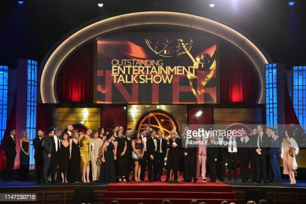 Mary Connelly accepts the Outstanding Entertainment Talk Show award for 'The Ellen DeGeneres Show' with cast and crew onstage at the 46th annual...