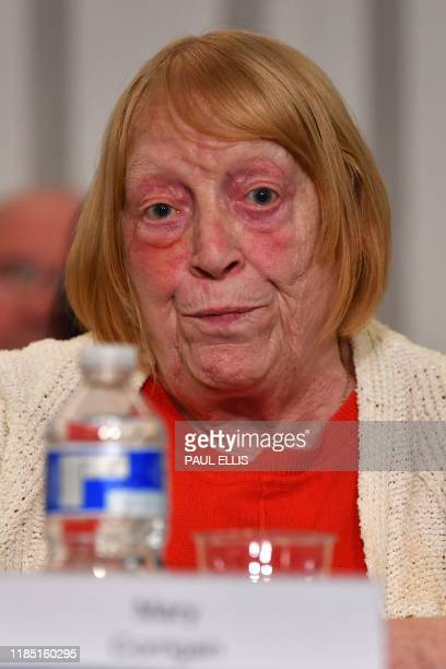 Mary Corrigan representing family members survivors and campaigners for the victims of the Hillsborough Disaster speaks during a press conference in...