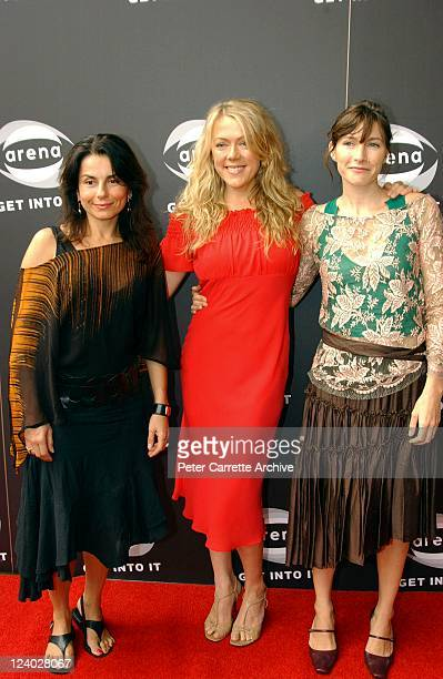 Mary Coustas Lisa Hensley and Claudia Karvan at the Arena TV live satellite presentation of the 10th Screen Actors Guild Awards at the Sydney Opera...