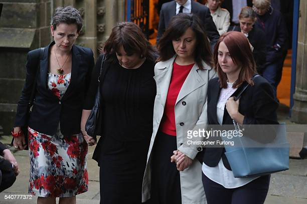 Mary Creagh MP and Caroline Flint MP leave St Peter's Church Birstall West Yorkshire after a vigil following the death of Labour MP Jo Cox on June 16...