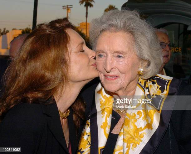 Mary Crosby and Dolores Hope during The Melody Lingers On Los Angeles Opening Night at El Portal Theatre in North Hollywood California United States